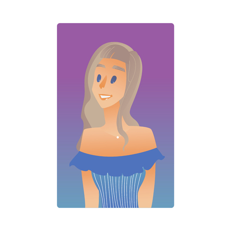 Blonde young woman flat avatar for social networks, blogs use. Long haired smiling girl in dress, cute female character portrait. Vector illustration on purple background.