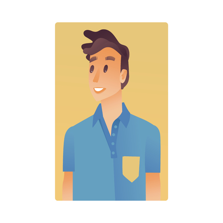 Brunette young man flat avatar for social networks, blogs use. Smiling guy in blue tshirt, handsome male character with stylish haircut portrait. Vector illustration on yellow background. Banque d'images - 114775120