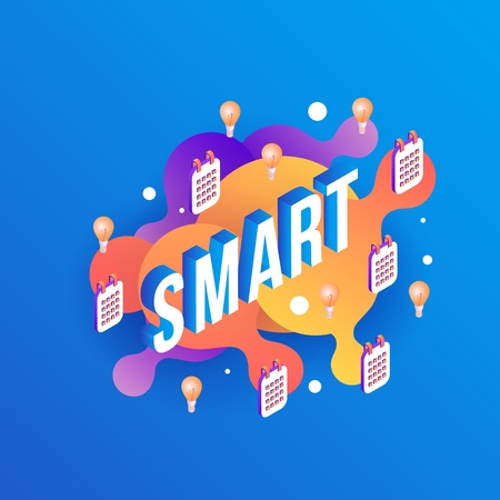 Smart isometric text design with light bulbs and calendars on abstract geometric orange fluid color shapes and bubbles on blue gradient background in vector illustration. Standard-Bild - 114775125