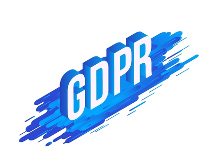 GDPR isometric gradient text design on abstract geometric blue fluid color shapes and stripes isolated on white background, vector illustration of modern volumetric word. Stock Illustratie