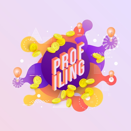 Profiling trendy background template with gradient colors and abstract geometric shapes, golden coins and light bulbs. Vector modern poster, banner, presentation layout illustration 版權商用圖片 - 114775138