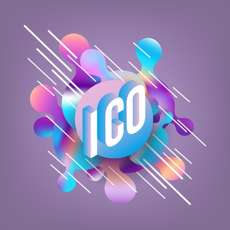 ICO isometric gradient text design on abstract geometric fluid colors shapes and bubbles on deep violet background - vector illustration of modern volumetric effect of cryptocurrency term. Standard-Bild - 114775145