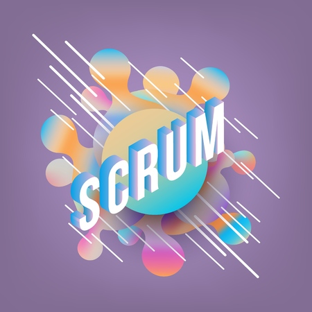 Scrum isometric gradient text design on abstract geometric fluid colors shapes and bubbles on deep violet background - vector illustration of trendy volumetric effect of software development term.
