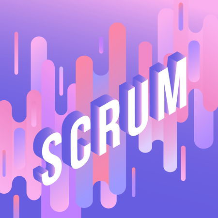 Scrum agile trendy background template with vibrant gradient purple blue purple colors and abstract round shapes flow. Vector modern poster, banner, presentation layout with text in square frame. Illustration