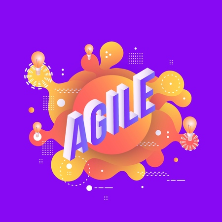 Agile trendy background template with gradient colors and abstract geometric shapes and light bulbs. Vector modern poster, banner, presentation layout illustration