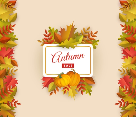 Autumn sale poster template with fall leaves, pumpkins square border frame background with space text. Seasonal advertising poster template with floral maple oak tree orange leaves thanksgiving vector Illustration