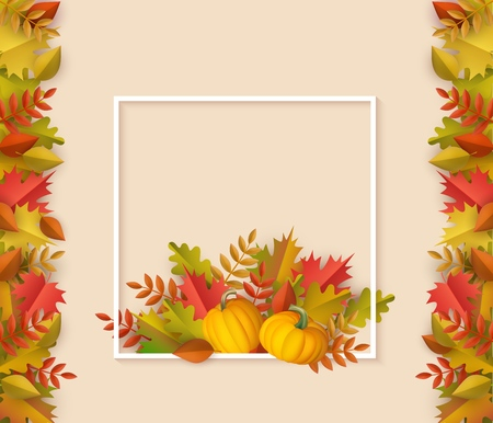 Autumn leaves with pumpkins square border frame background with space text. Seasonal advertising poster template with floral maple oak tree orange leaves for thanksgiving holiday harvest vector design Ilustração