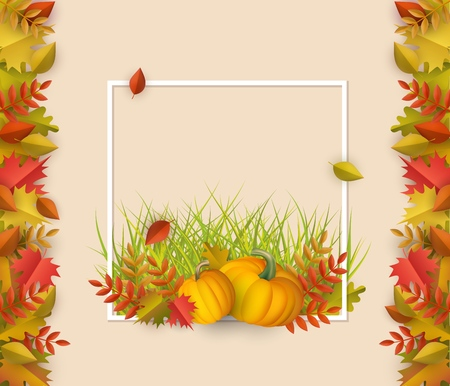 Autumn leaves with pumpkins square border frame background with space text. Seasonal advertising template with floral maple oak tree orange leaves for thanksgiving holiday, harvest vector design. Illustration