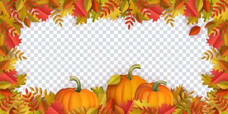 Autumn leaves and pumpkins border frame with space text on transparent background. Seasonal floral maple oak tree orange leaves with gourds for thanksgiving holiday, harvest decoration vector design. Ilustração
