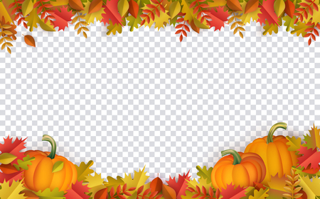 Autumn leaves and pumpkins border frame with space text on transparent background. Seasonal floral maple oak tree orange leaves with gourds for thanksgiving holiday, harvest decoration vector design. Banque d'images - 105228956
