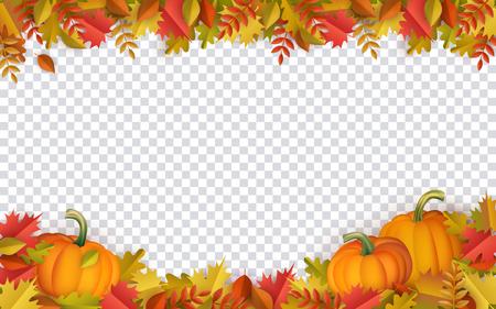 Marco de borde de hojas de otoño y calabazas con texto espacial sobre fondo transparente. Hojas de naranja de árbol de roble de arce floral estacional con calabazas para vacaciones de acción de gracias, diseño de vector de decoración de cosecha. Foto de archivo - 105228956