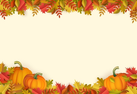 Autumn leaves and pumpkins border frame background with space text . Seasonal floral maple oak tree orange leaves with gourds for thanksgiving holiday, harvest decoration vector design.