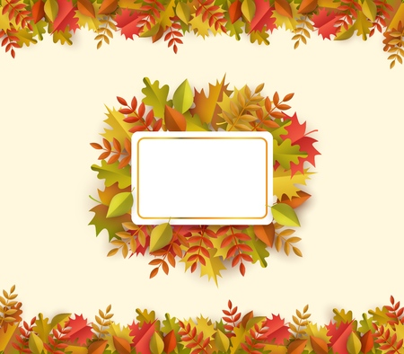 Autumn leaves square border frame background with space text . Seasonal floral maple oak tree orange leaves for thanksgiving holiday, harvest decoration vector design. Illustration
