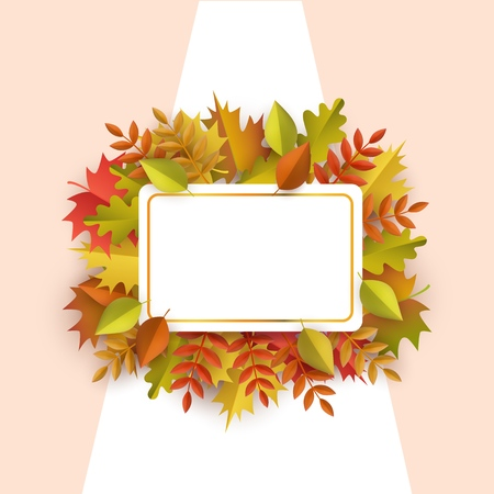 Autumn leaves square border frame background with space text. Seasonal advertising template with floral maple oak tree orange leaves for thanksgiving holiday, harvest decoration vector design.