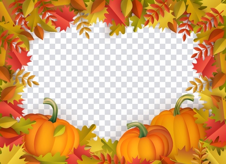 Autumn leaves and pumpkins border frame with space text on transparent background. Seasonal floral maple oak tree orange leaves with gourds for thanksgiving holiday, harvest decoration vector design. Illusztráció