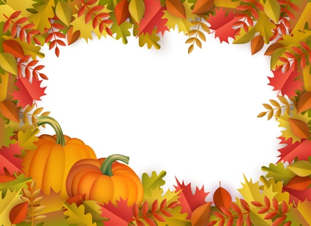 Autumn leaves and pumpkins border frame background with space text . Seasonal floral maple oak tree orange leaves with gourds for thanksgiving holiday, harvest decoration vector design. Banco de Imagens - 105228991