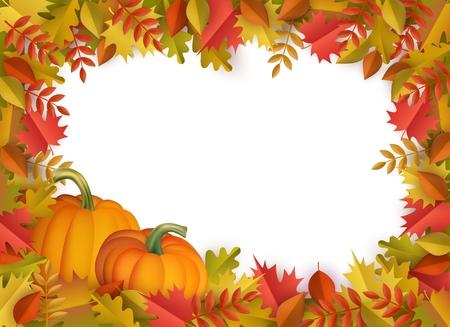 Fondo de marco de borde de hojas de otoño y calabazas con texto espacial. Hojas de naranja de árbol de roble de arce floral estacional con calabazas para vacaciones de acción de gracias, diseño de vector de decoración de cosecha.