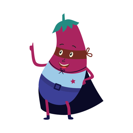 cartoon eggplant hero character in black cape, mask and costume standing pointing by index finger. Isolated vector illustration. Funny fruit, super vegetable protecting people health 向量圖像