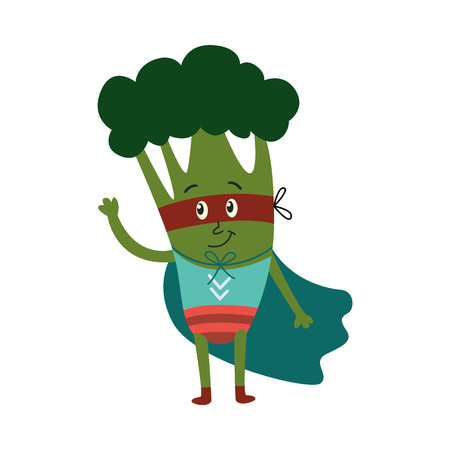 cartoon broccoli hero character in blue cape, mask standing waving hand. Isolated vector illustration. Funny fruit, super vegetable protecting people health Illustration