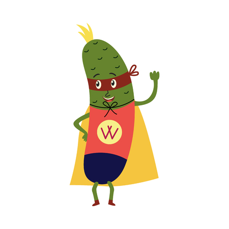 cartoon cucumber hero character in red cape, mask standing waving hand. Isolated vector illustration. Funny fruit, super vegetable protecting people health
