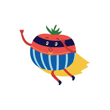 cartoon watermelon hero character in blue cape, mask flying dashing to help. Isolated vector illustration. Funny fruit, super vegetable protecting people health