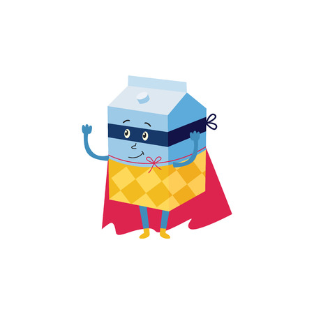 cartoon milk package hero character in black cape, mask and costume standing dancing. Isolated vector illustration. Funny drink, super beverage protecting people health Illustration