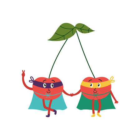 cartoon cherry brothers hero characters in red cape, mask standing holding hands, waving. Isolated vector illustration. Funny fruit, super vegetable protecting people health Illustration
