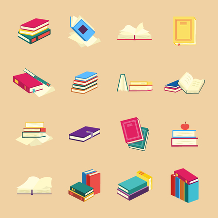 Paper books with colorful covers set with various closed and open reading objects - collection of flat isolated elements for education or literary leisure in vector illustration. Illustration