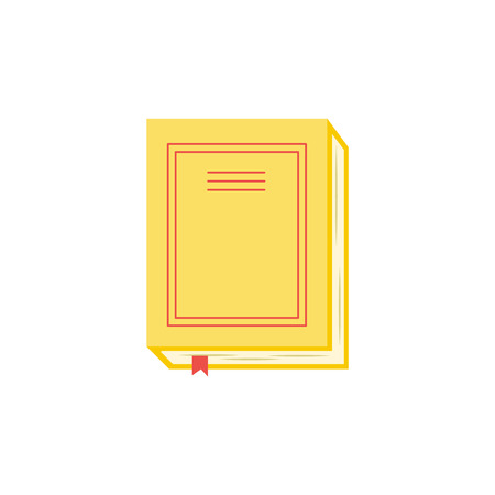 Closed paper book or diary with yellow hardcover and red bookmark isolated on white background. Top view of literature for education or reading leisure concept in flat vector illustration.