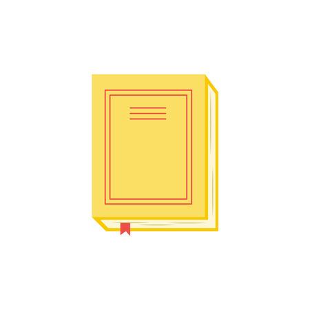 Gesloten papieren boek of dagboek met gele hardcover en rode bladwijzer geïsoleerd op een witte achtergrond. Bovenaanzicht van literatuur voor onderwijs of het lezen van vrijetijdsconcept in platte vectorillustratie.