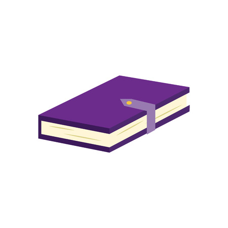 Closed paper book or diary with violet hardcover and clasp isolated on white background - literature element for education and reading leisure concept in flat vector illustration.
