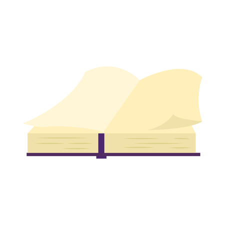 Open book with violet hardcover and paper pages isolated on white background - literary object for education or reading leisure in flat vector illustration. Back to school concept.
