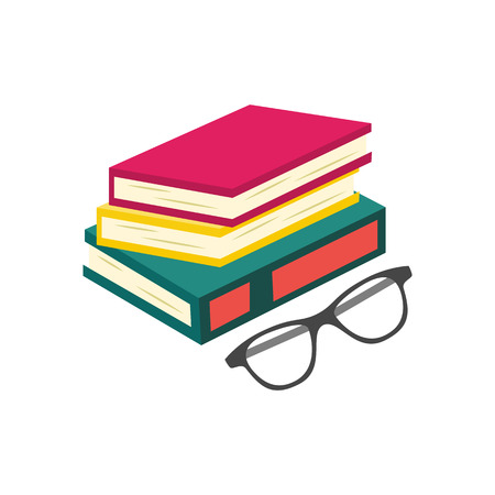 Flat book pile or column and glasses top view. Paper symbol of education, library literature and wisdom. School, college or university studying equipment. Vector isolated illustration. Illustration