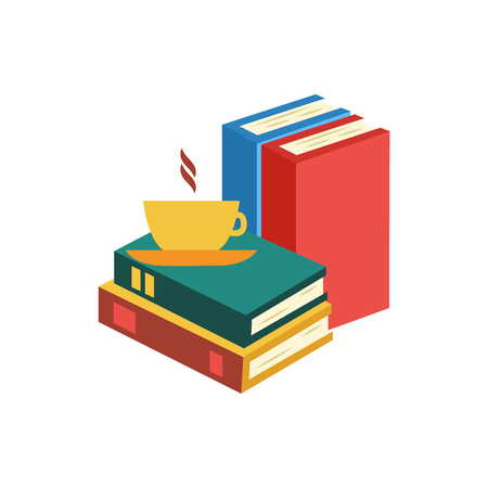 Flat coffee cup standing at book pile or column top view. Symbol of education, library literature and wisdom. School, college or university studying equipment. Vector isolated illustration.