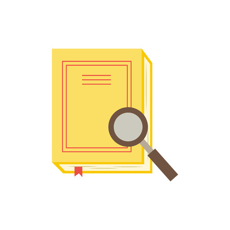 Closed paper book or diary with yellow hardcover and red bookmark and magnifier isolated on white background - literature for education or reading leisure concept in flat vector illustration. Vektoros illusztráció