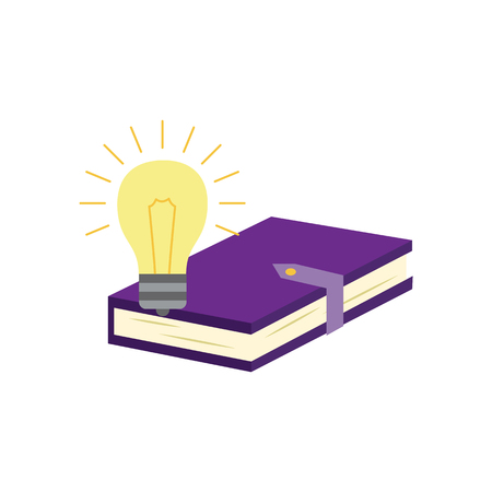 Closed paper book or diary with violet hardcover and clasp and luminous light bulb isolated on white background - element of education or business idea concept in flat vector illustration.