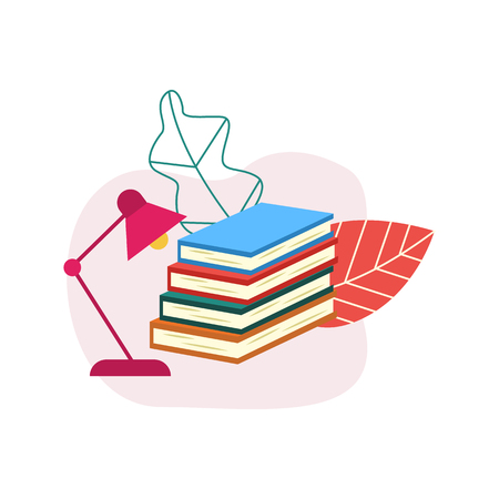 Flat book pile or column with table lapm on abstract floral background. Paper symbol of education, library literature and wisdom. School, college or university studying equipment. Vector illustration.