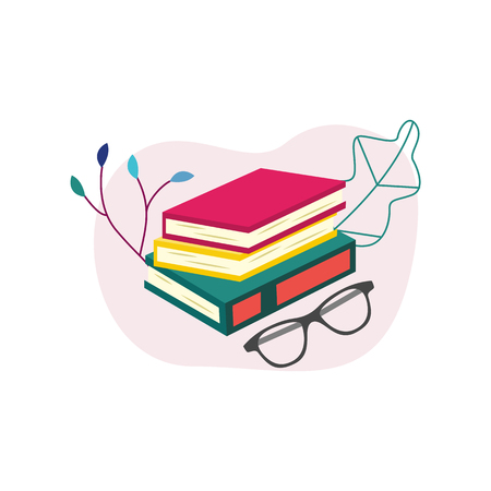 Flat book pile or column with glasses on abstract leaves background. Paper symbol of education, library literature and wisdom. School, college or university studying equipment. Vector illustration. Illustration