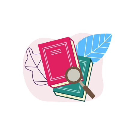 Flat book pile or column with magnifying glass on abstract leaves background. Symbol of education, library literature and wisdom. School, college or university studying equipment. Vector