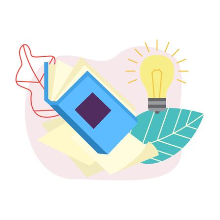 Flat opened book with glowing light bulb on abstract leaves background. Symbol of education, library literature and wisdom. School, college or university studying equipment. Vector illustration.