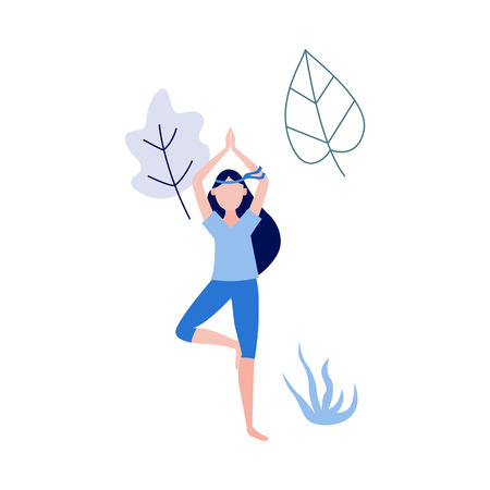 Cute slim girl standing doing yoga exercise on abstract floral background elements. Young woman and healthy lifestyle and harmony concept. Vector illustration Illustration