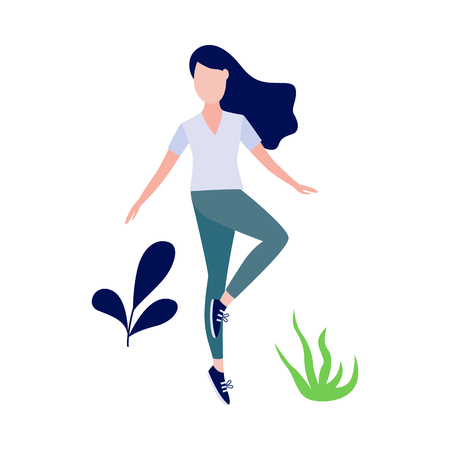 Cute slim girl standing doing yoga exercise or stretching on abstract floral background elements. Young woman and healthy lifestyle and harmony concept. Vector illustration