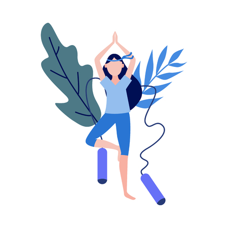 Cute slim girl standing doing yoga exercise before skipping on abstract floral background with skipping rope elements. Young woman and healthy lifestyle and harmony concept. Vector illustration