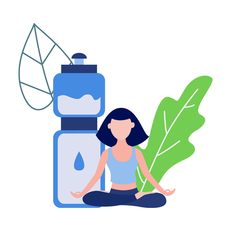 Cute slim girl sitting in lotus posture meditating on abstract floral background elements, water bottle. Young woman doing yoga exercise, healthy lifestyle and harmony concept. Vector illustration Illustration