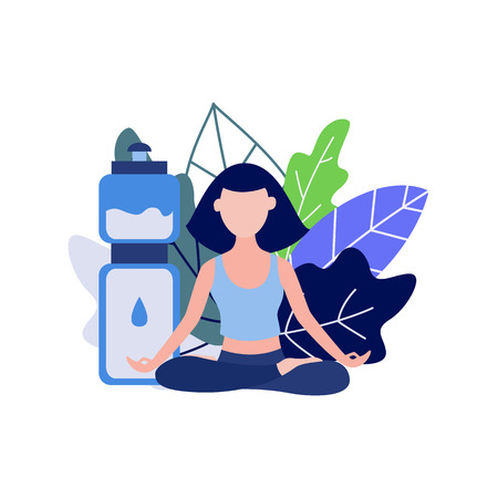 Young woman doing sports sitting in lotus pose and meditating isolated on white background with decorative leaves and bottle of water - flat female character practicing yoga in vector illustration.