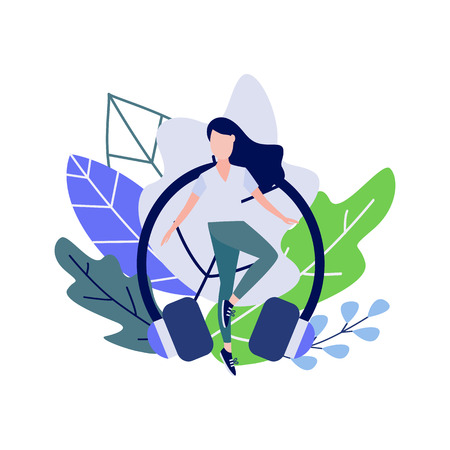 Young woman doing sport dance or fitness exercises against decorative leaves and earphones isolated on white background - healthy and active lifestyle concept in flat vector illustration. Illustration