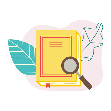 Flat book with magnifying glass on abstract leaves background. Symbol of education, library literature and wisdom. School, college or university studying equipment. Vector Illustration