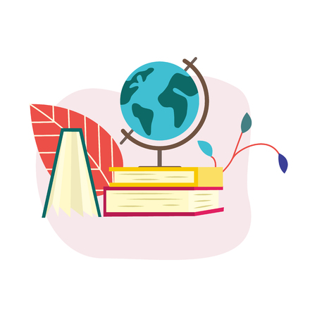 Flat globe standing near opened book side view. Symbol of education, library literature and wisdom. School, college or university studying equipment. Vector isolated illustration.