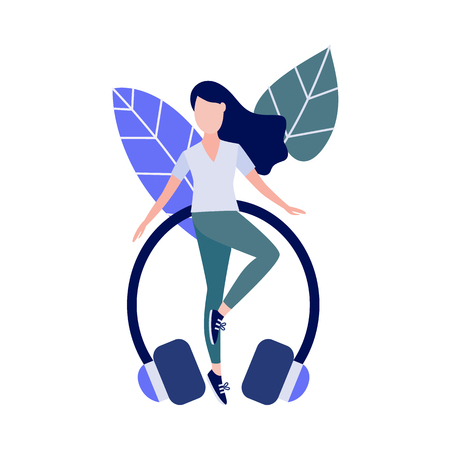 Cute slim girl standing doing yoga exercise or stretching on abstract floral background elements and headphones. Young woman and healthy lifestyle and harmony concept. Vector illustration