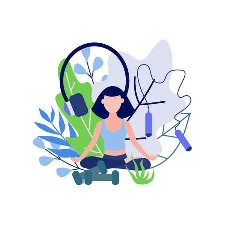 Young woman sitting in lotus pose and meditating isolated on white background with decorative leaves and sport equipment - flat female character practicing yoga in vector illustration. Illustration